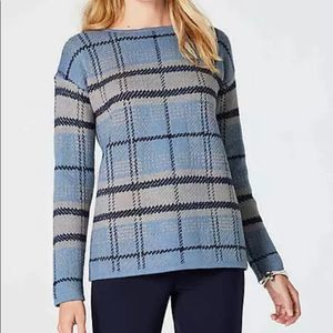 J. Jill French Blue Check Plaid Pull Over Sweater